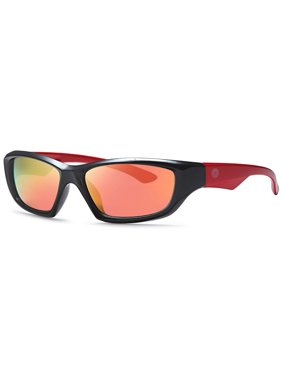 Hawaiian Island Creations Wrap Ozzie Kids Polarized Polycarbonate Sunglasses - Black Frame Red Arms / Smoke Red Lenses