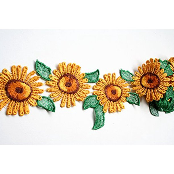 Yellow Green Brown Sun Flower Daisy Embroidered Lace Trim Diy Sewing Notions Crafts By Yard Walmart Com Walmart Com A flower is a naturally occurring plant that occurs in a variety of shapes and colors. yellow green brown sun flower daisy embroidered lace trim diy sewing notions crafts by yard