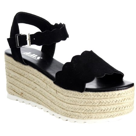 Emma-23 Mary Jane Espadrille Platform Wedge Flatform Open Toe Sandal Black (Black Canvas Open Toe)