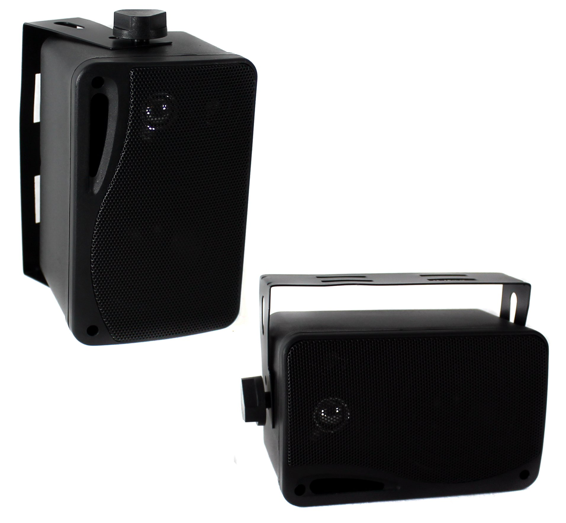 "2) Pyle PLMR24B 3.5"" 200 Watt 3-Way Weather Proof Mini Box Speaker System Black"