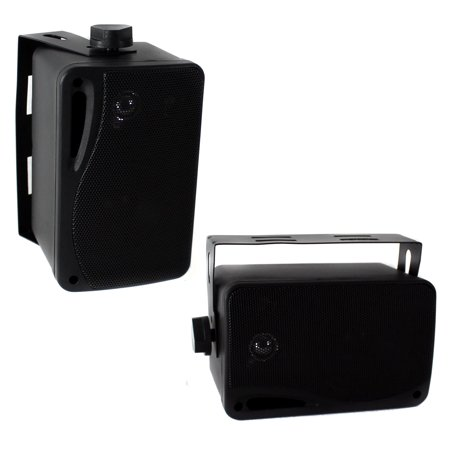 Pyle Plmr24b 3 5  200W 3 Way Weatherproof Mini Box Speaker System  Black