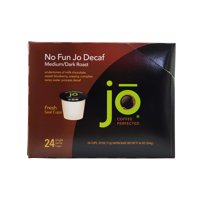 NO FUN JO DECAF: Fresh Seal Organic Coffee Pods, Eco-Friendly Recyclable Single Serve Capsule for use in Keurig Compatible K-Cup Brewers, Medium/Dark Roast, 24 ct