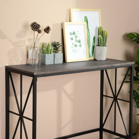 Furniture R Console Sofa Table Wooden Top Desk Metal Frame (Dark Brown) - image 2 of 6