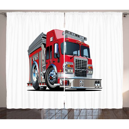 Truck Curtains 2 Panels Set, Cartoon Style Red Fire Truck Emergency Services Safety of the City Transportation, Window Drapes for Living Room Bedroom, 108W X 63L Inches, Red Pale Grey, by Ambesonne