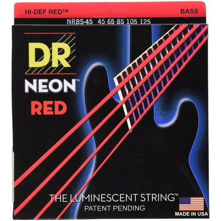 nrb5 45 k3 neon hi def 5 bass guitar strings medium red gauge medium 5 string by dr. Black Bedroom Furniture Sets. Home Design Ideas