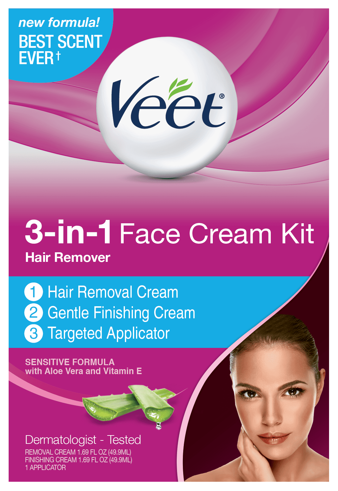 Veet 3 In 1 Face Cream Kit Hair Remover Walmart Com Walmart Com