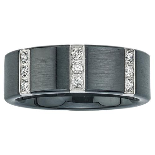 Black Ceramic and Stainless Steel Men's 1/4ct TDW Diamond Wedding Band SIZE 13