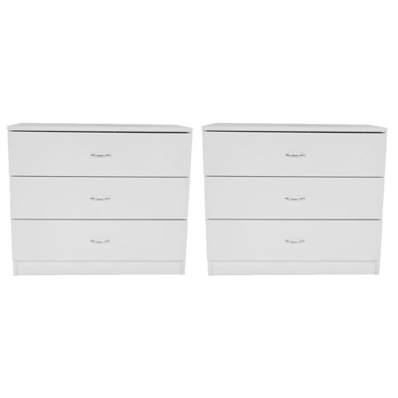 Ktaxon Wood 3 Drawers White Nightstands Dresser Bedside End Table Set of 2