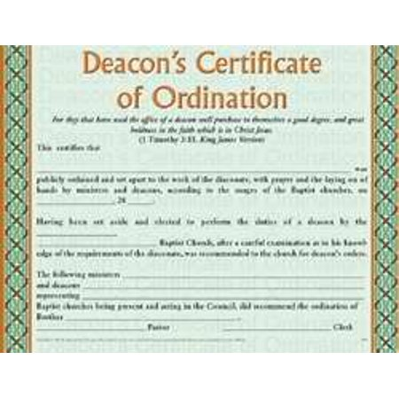 Certificate-Deacon\'s Certificate Of Ordination (Full Size) (Pack Of ...