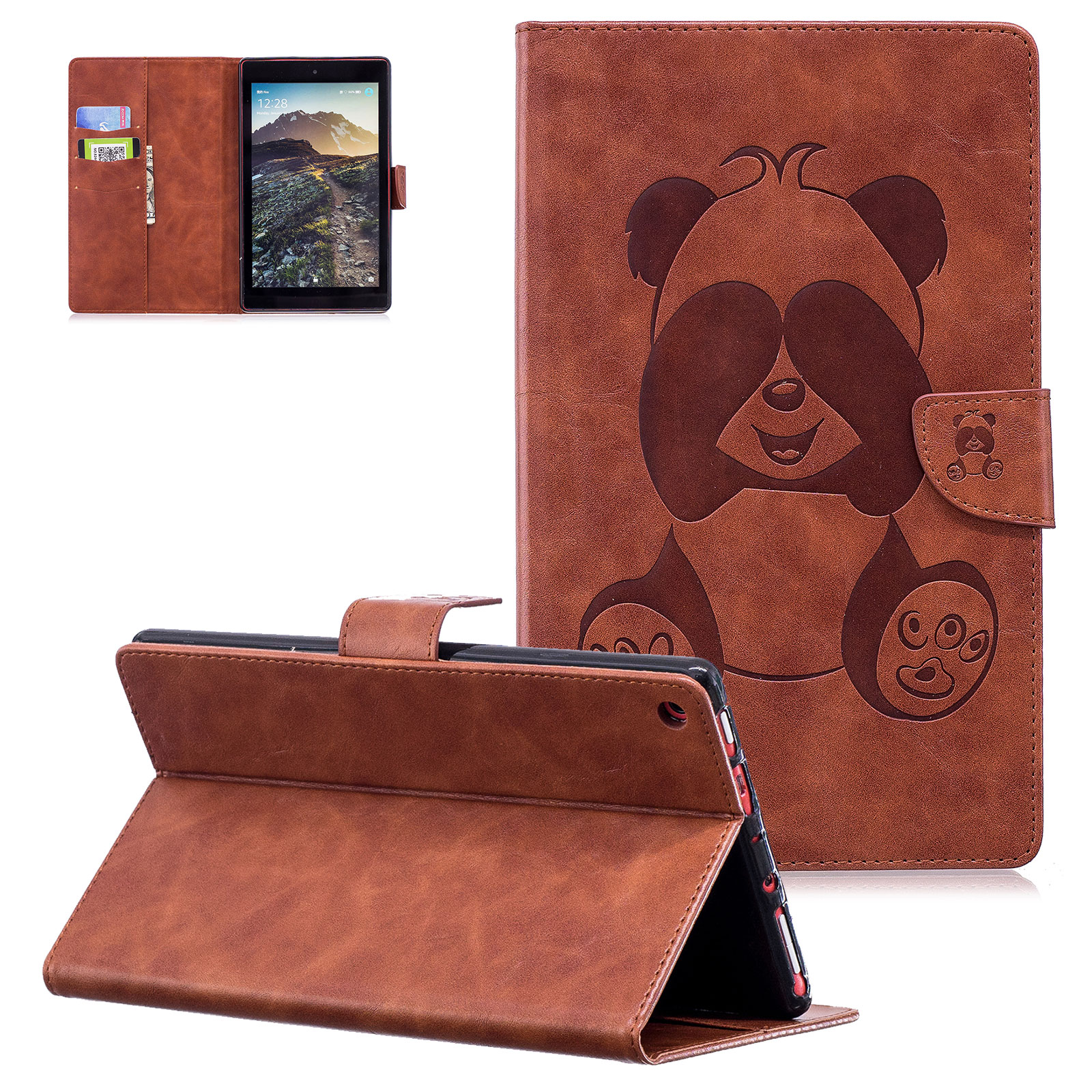 Fire HD 8 2017 2016 2015 Wallet Case,Goodest [Panda Series] [Auto Wake/Sleep] PU Leather Flip Stand Protective Cover for Amazon Fire HD 8 Tablet (7th/ 6th/ 5th Generation,2017/ 2016/ 2015), Brown