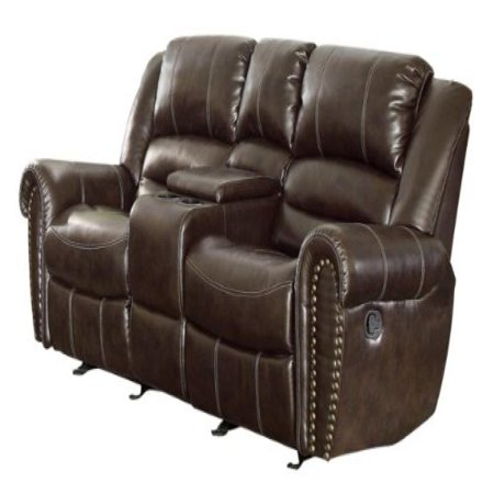 Tremendous Homelegance 9668Brw 2 Double Glider Reclining Loveseat With Center Console Brown Bonded Leather Uwap Interior Chair Design Uwaporg