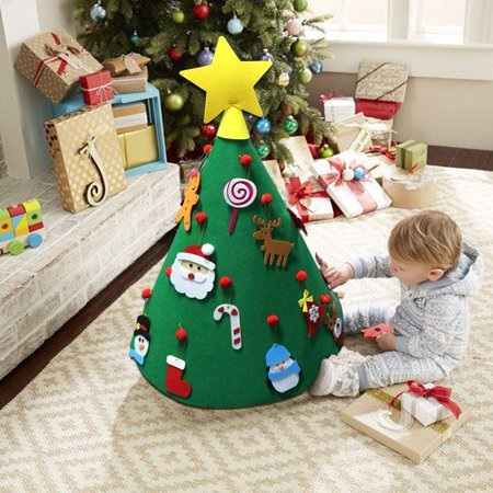 3D DIY Felt Christmas Tree with Hanging Ornaments, Xmas Gifts for Kids Christmas Decorations ()