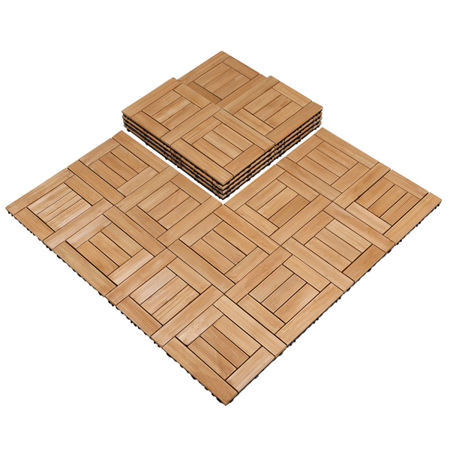 27PCS Decking Flooring Deck Patio Tiles Solid Wood and Plastic Indoor Outdoor 12 x 12