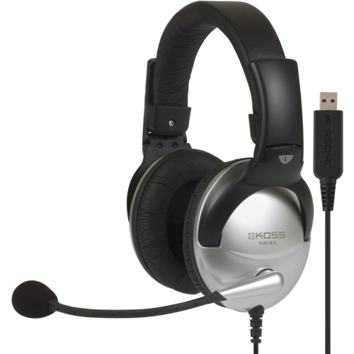 Koss SB45 USB Koss SB45 USB Communication Headsets - Stereo - USB - Wired - 100 Ohm - 18 Hz - 20 kHz - Over-the-head - Binaural - Circumaural - 8 ft Cable