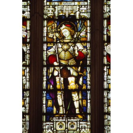 St. Alban in West window of Hereford Cathedral, England, 20th century Print Wall Art By CM
