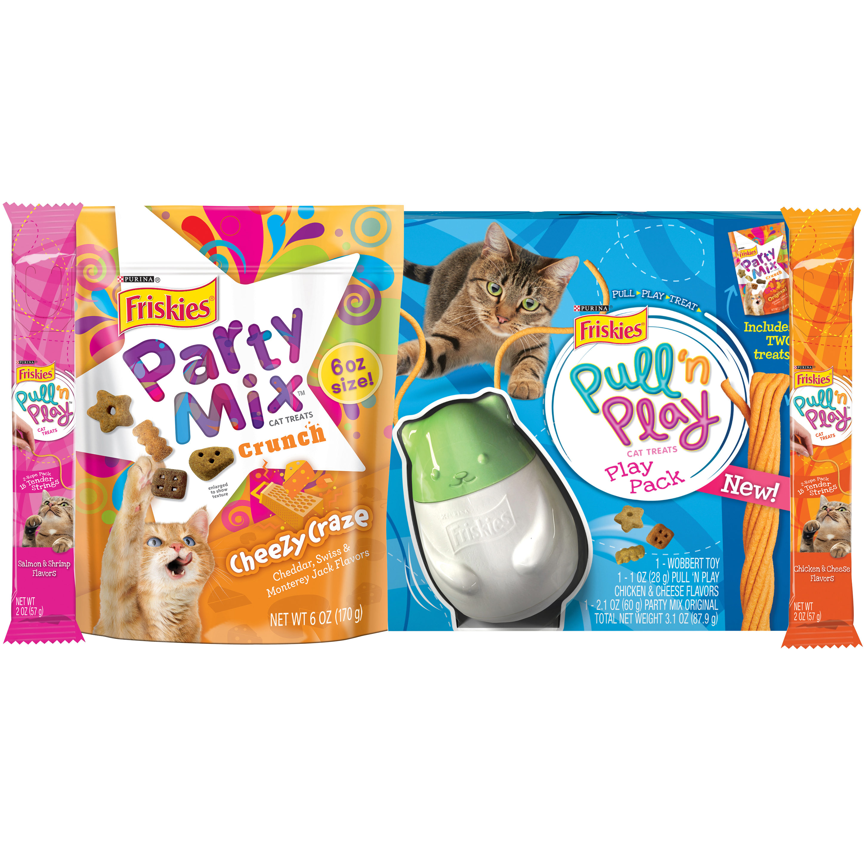 Purina Friskies Pull N' Play Cat Treats Pet Holiday Bundle, Pack of 4