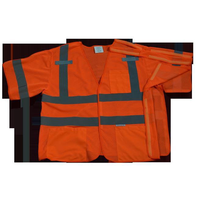 OVM3-5PB-2X-3X Safety Vest Orange Mesh Ansi-Isea Class 3 - 207-2006 5-Point Breakaway, 2X & 3X