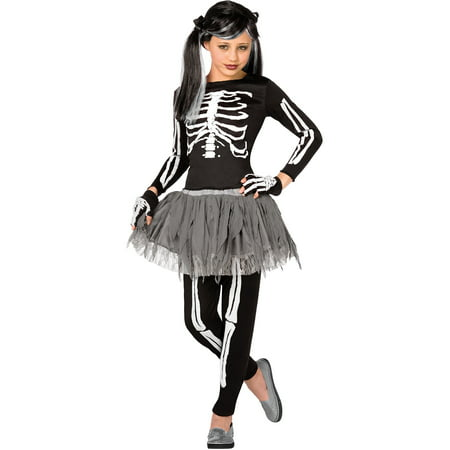 Girl White Skeleton Medium Halloween Dress Up / Role Play Costume - Halloween Plays For Middle School