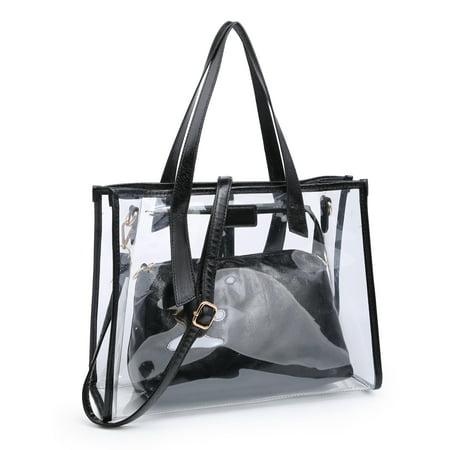 Transparent Pretty PVC Stylish Purse Clear Handbag, POPPY Clear Tote Bag Crossbody Bag, Black Black Purse Handbag Tote Bag