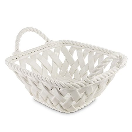 KOVOT Ceramic Woven Serving Basket - Great To Display Bread Or Fruit ()