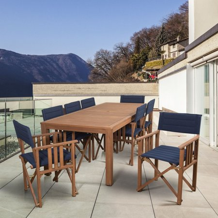 Amazonia  Orlando 9-piece Blue/Brown Wood Patio Dining Set ()