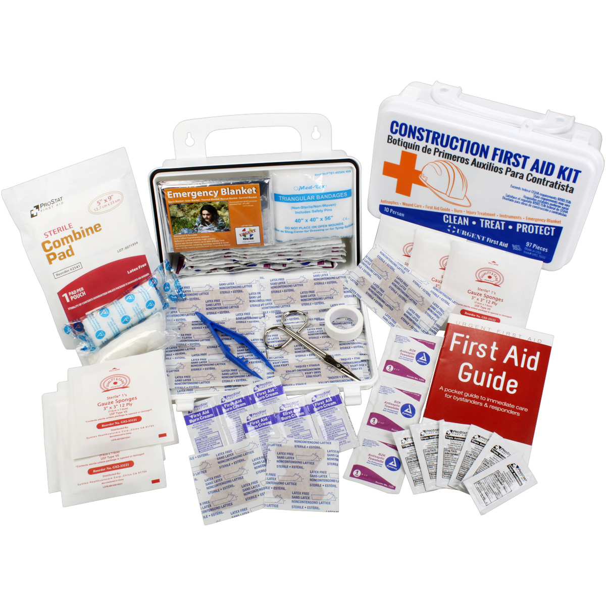 OSHA Contractors First Aid Kit for Job Sites up to 10 People ? Gasketed Plastic, 97 pieces