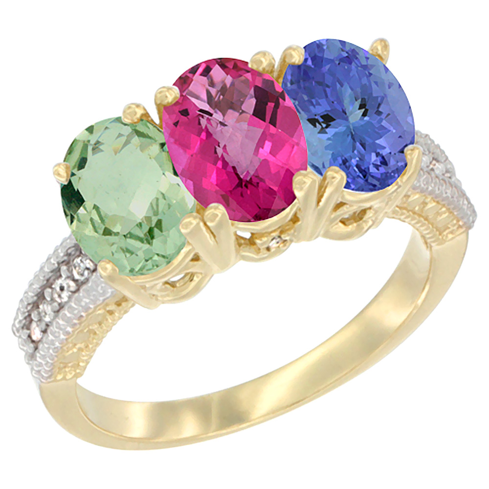 14K Yellow Gold Natural Green Amethyst, Pink Topaz & Tanzanite Ring 3-Stone 7x5 mm Oval Diamond Accent, sizes 5 10 by WorldJewels