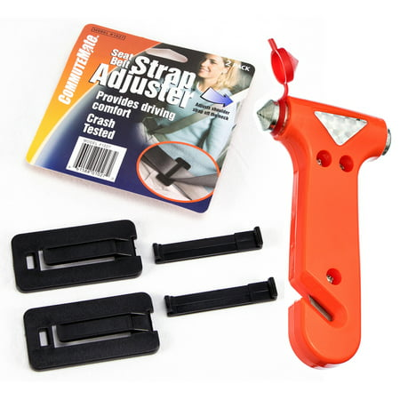 Seat Belt Adjuster Clip - Seat Belt Strap Adjuster Belt Clip and Emergency Hammer Auto Safety Set