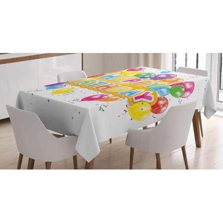 Birthday Decorations Tablecloth, The Words Happy Birthday with Vivid Balloons Confetti Rain Blithesome, Rectangular Table Cover for Dining Room Kitchen, 52 X 70 Inches, Multicolor, by Ambesonne