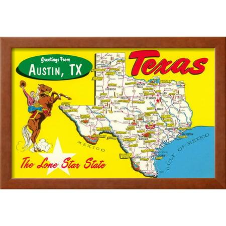 Greetings from Austin, Texas Framed Art Print Wall Art - Walmart.com