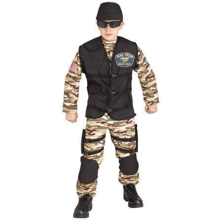 Fun World SF Commando Halloween 4pc Boy Costume, Green Brown Black