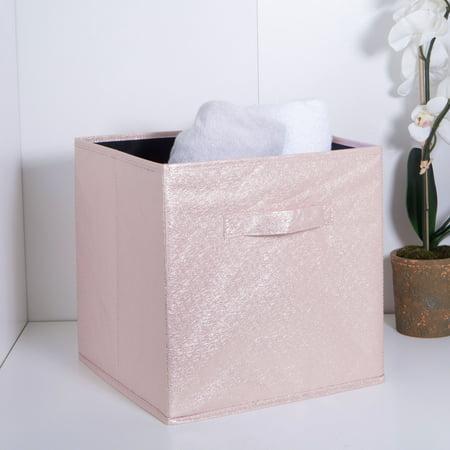 Simplify Metallic Collapsible Storage Cube, Bin, Blush, 6 Pack (12x12x12) ()