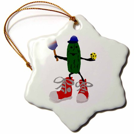 3dRose Funny Pickleball Pickle in Red Sneakers - Snowflake Ornament, (Best Shoes For Pickleball)