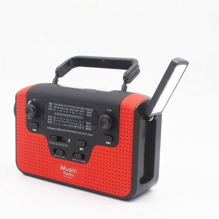 Multifunction FM Radio FM/AM/SW Solar Hand Crank Radio TF Card Slot Music Bt Hands-free Call Solar LED Alert Flashlight Emergency Light RD388
