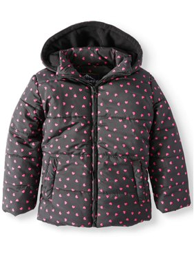 a73121af96887 Product Image Foil Heart Print Puffer Jacket with Hood (Little Girls & Big  Girls)