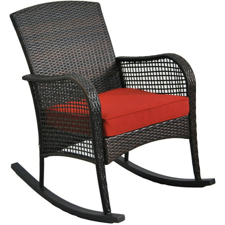 Mainstays Cambridge Park Wicker Outdoor Rocking Chair Grand Wicker Rocking Chair