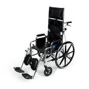 Medline Excel Reclining Wheelchair Desk Length Removable Armrests and Elevating Legrests