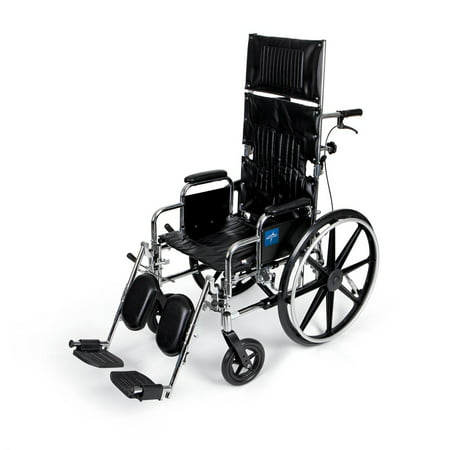 Medline Excel Reclining Wheelchair Desk Length Removable Armrests and Elevating Legrests