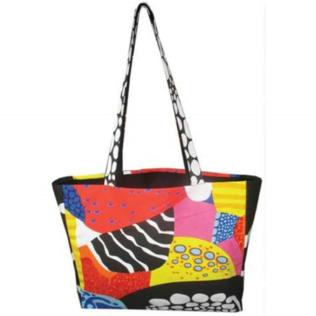 16 Inch Red, Black and Yellow Coral Reef Motif Collectible Tote Bag - Coral Tote Bag