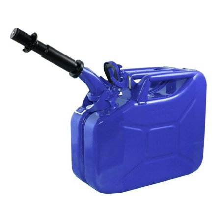 Wavian 3023 2.6 Gallon 9.8 Liter Steel Gasoline Fuel Jerry Can with Spout, Blue ()