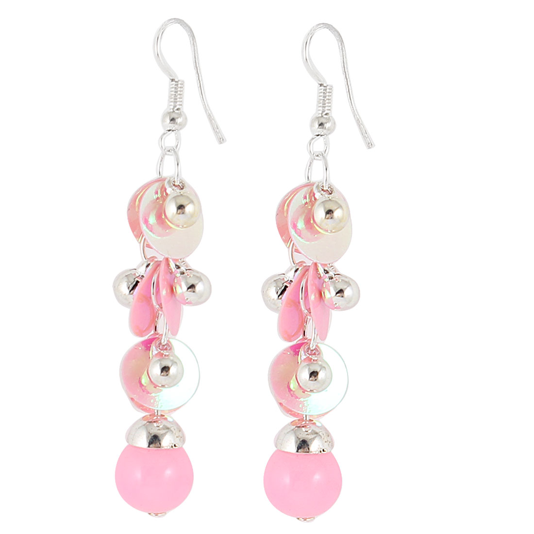 Pink Silver Tone Plastic Bead Decor Pendant Fish Hook Earrings Pair for Woman - image 1 of 1