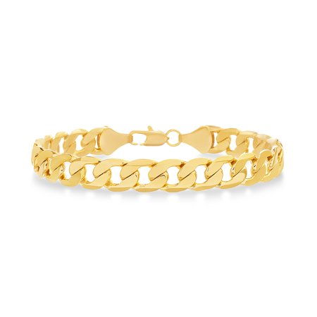 Mens Polished Curb Chain Bracelet in Yellow Gold Plated Brass Curb Mens Gold Bracelet