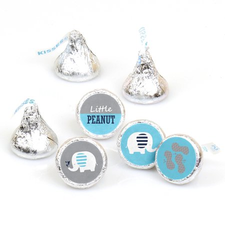 Blue Elephant - Boy Baby Shower or Birthday Party Round Candy Sticker Favors - Labels Fit Hershey's Kisses 108 Ct - Toddler Boy Birthday Party
