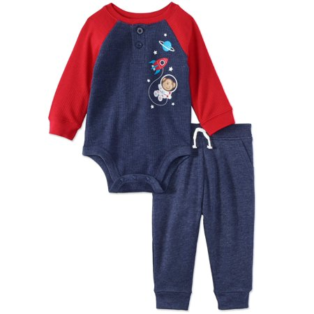 Garanimals Long Sleeve Thermal Raglan Bodysuit & French Terry Jogger Pants, 2pc Outfit Set (Baby Boys) - Baby King Outfit