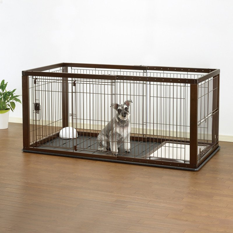 Richell Expandable Pet Crate With Floor Tray Dark Brown