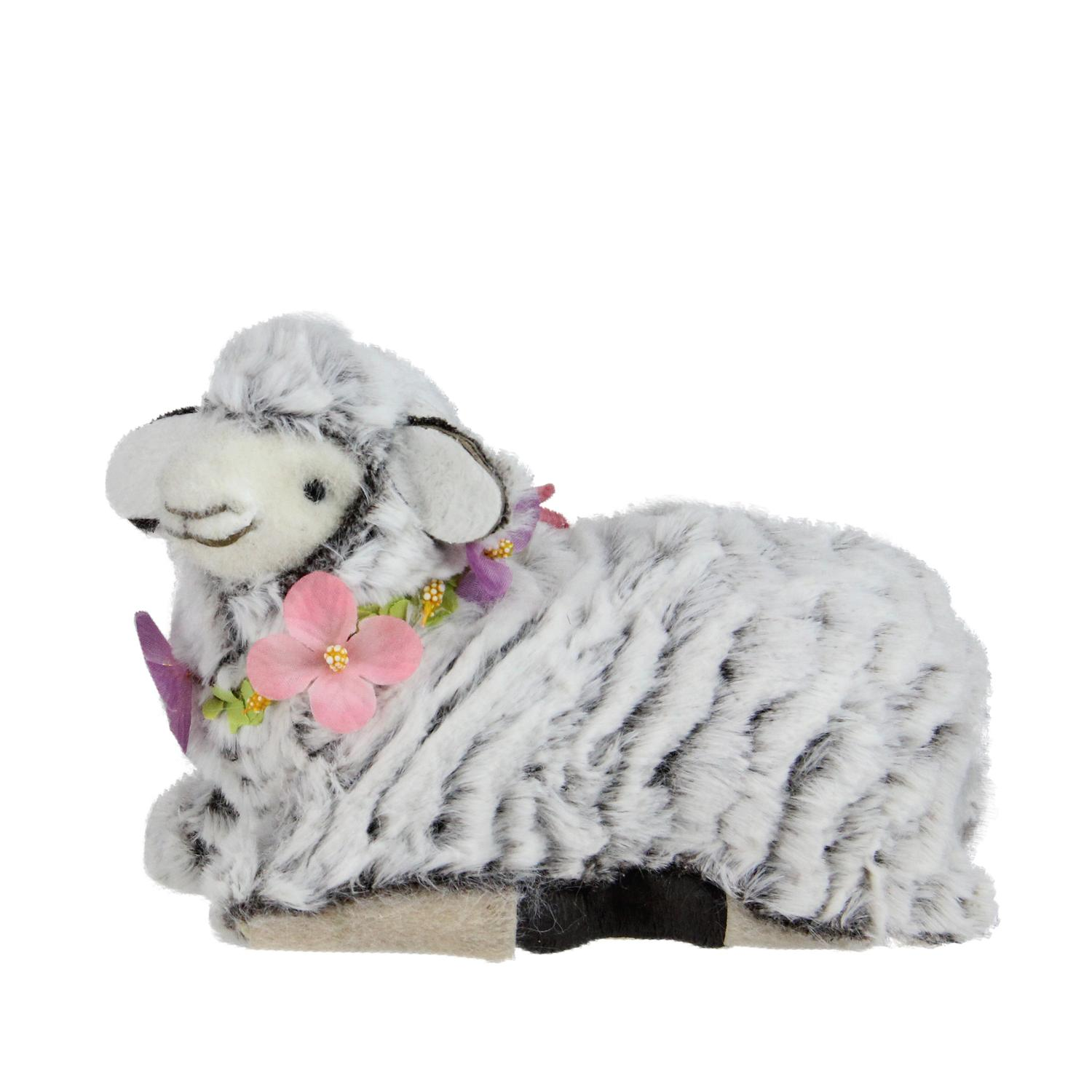 """6.75"""" White and Brown Plush Kneeling Sheep Spring Easter Figure"""
