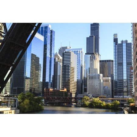 Chicago River and Towers of the West Loop Area Print Wall Art By Amanda