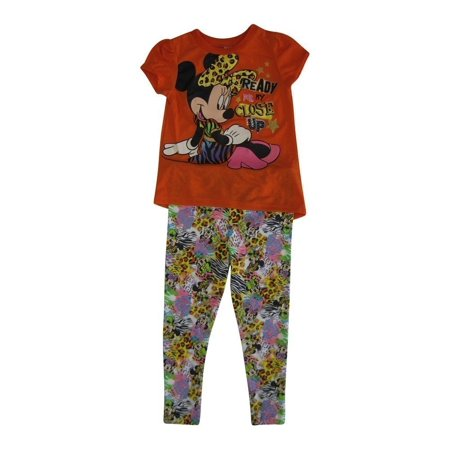 Anime Outfits (Disney Little Girls Orange Minnie Mouse Animal Print 2 Pc Pant)