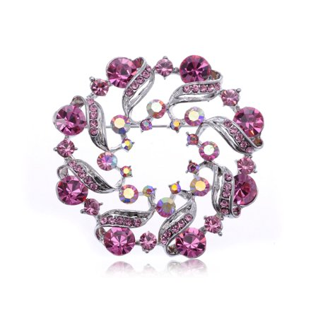 Wreath Fashion Pin (Pink Rose Flower Abstract Crystal Rhinestone Fashion Wreath Holiday Pin Brooch )