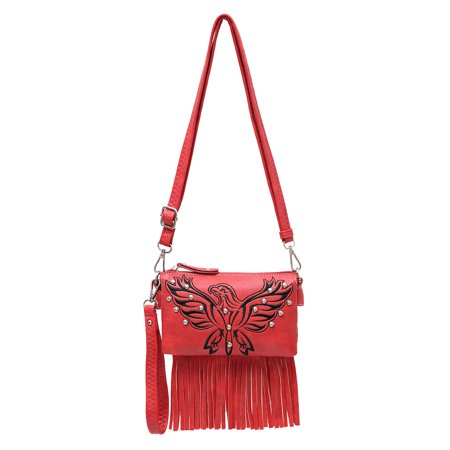 Zeckos - Embroidered Eagle Studded 5 Pocket Fringed Organizer Purse - Red - Size - Eagles Purse